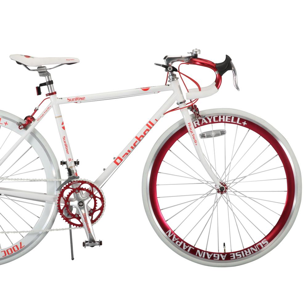 【送料無料】Raychell+ ロードバイク 700CR+714 SunRise(ホワイト/レッド)フレームサイズ480mmシマノ14段変速 自転車 オオトモ レーシングバイク