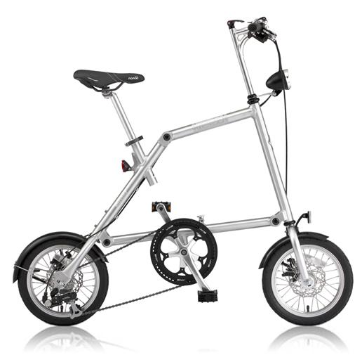 NANOO(ナノー)14インチ折りたたみ自転車FD-1408ポリッシュ 23937 オオトモ豪華セット(56T/シマノ8段変速/フレームバッグ/ライト/スタンド)折畳み 折り畳み 超軽量 アルミ製 ディスクブレーキ 輪行バッグ