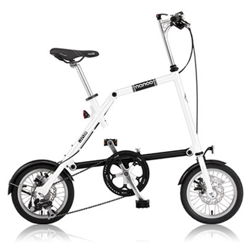 NANOO(ナノー)14インチ折りたたみ自転車FD-1408ホワイト 23635 オオトモ豪華セット(56T/シマノ8段変速/フレームバッグ/ライト/スタンド)折畳み 折り畳み 超軽量 アルミ製 ディスクブレーキ 輪行バッグ