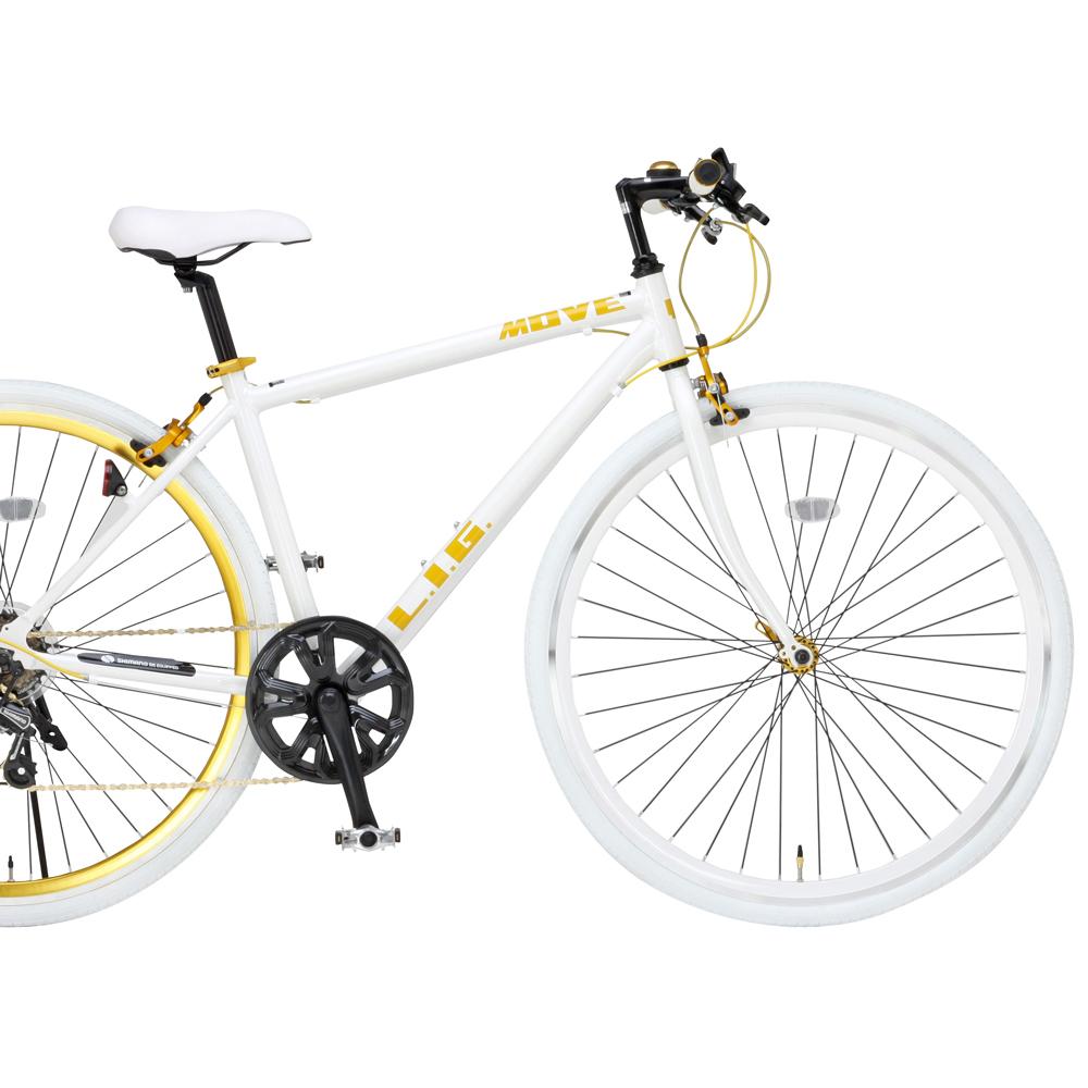 ロードバイク 700C LIG MOVE19247 ホワイト【送料無料】シマノ製7段変速 オオトモ