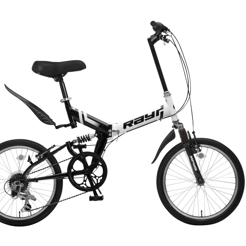 20インチコンパクトMTBMFWS-206RR(ホワイト/ブラック)【送料無料】Raychell/レイチェル 6段ギア 折り畳み自転車 オオトモ シティライド