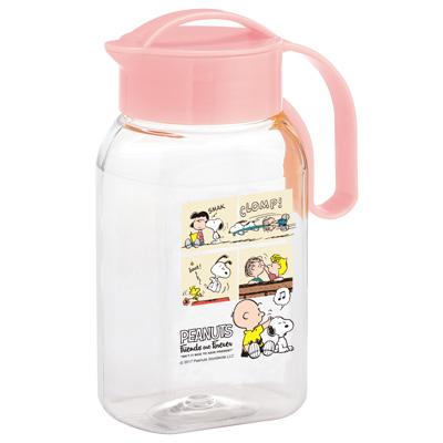 スヌーピー タテヨコ・スクリューピッチャー 1.8 (ピンク/フレンズ)スヌーピー グッズ 冷水筒 縦置き 横置き 耐熱 おしゃれ かわいい