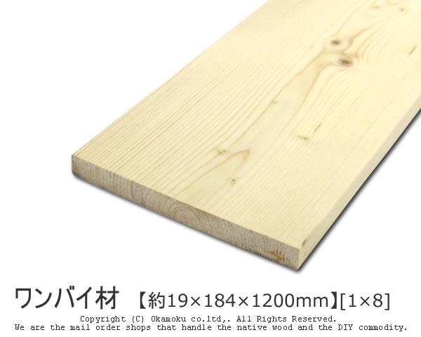 DIY向きの代表格 リーズナブルで初心者にも扱いやすい 営業 ワンバイ材 約19×184×1200mm 1×8 DIY 木材 ついに入荷 無塗装 角材 1x8 ワンバイエイト カット可