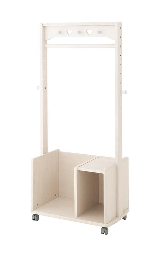オカムラ プリティア マルチハンガー 865LHG-W443 組立式 送料込み| キャスター付き シンプル 子供用 ハンガーラック キッズハンガー 子供 木製 ランドセルラック 服 収納 ラック ハンガー ハート こども 子ども シェルフ おもちゃ かわいい ホワイト 白 女の子 キッズ