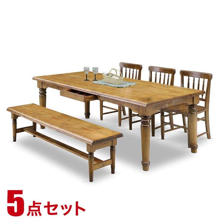ダイニングテーブルセット 6人掛け 贅沢な天然木100%のカントリーデザイン バウム 5点セット 幅200cmテーブル チェア3脚 ベンチ1脚 輸入品 設置無料
