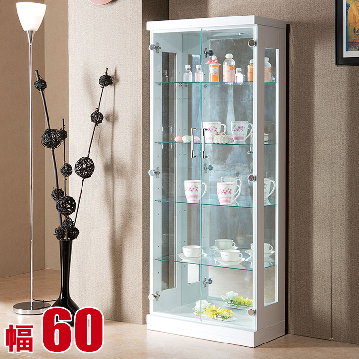 コレクションケース コレクションラック 飾り棚 フォース 幅60 奥行30 高さ150 ホワイト スーパークリアガラス 大容量 完成品 輸入品 送料無料