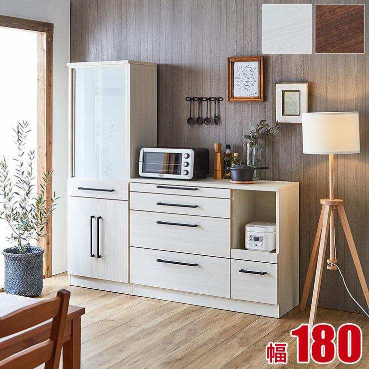 食器棚 レンジ台 キッチン収納 ソリット 2点セット(60ダイニングボード 120カウンター) ホワイト ブラウン 白 木目 レンジラック 完成品 日本製 送料無料