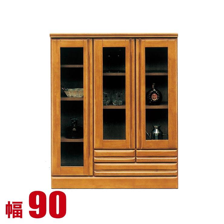 食器棚 ロータイプ 完成品 収納 90 サイドボード ブラウン ラバーウッド 無垢 リビング キャビネット ジェームス 幅89.5 日本製 完成品 日本製 送料無料