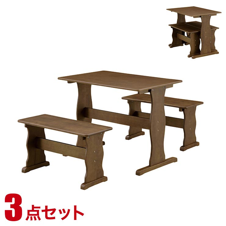 ダイニングテーブルセット 4人掛け モダン カントリー ダイニング 3点セット シャトー 幅90cmテーブル ベンチ2脚 ブラウン 完成品 輸入品 送料無料