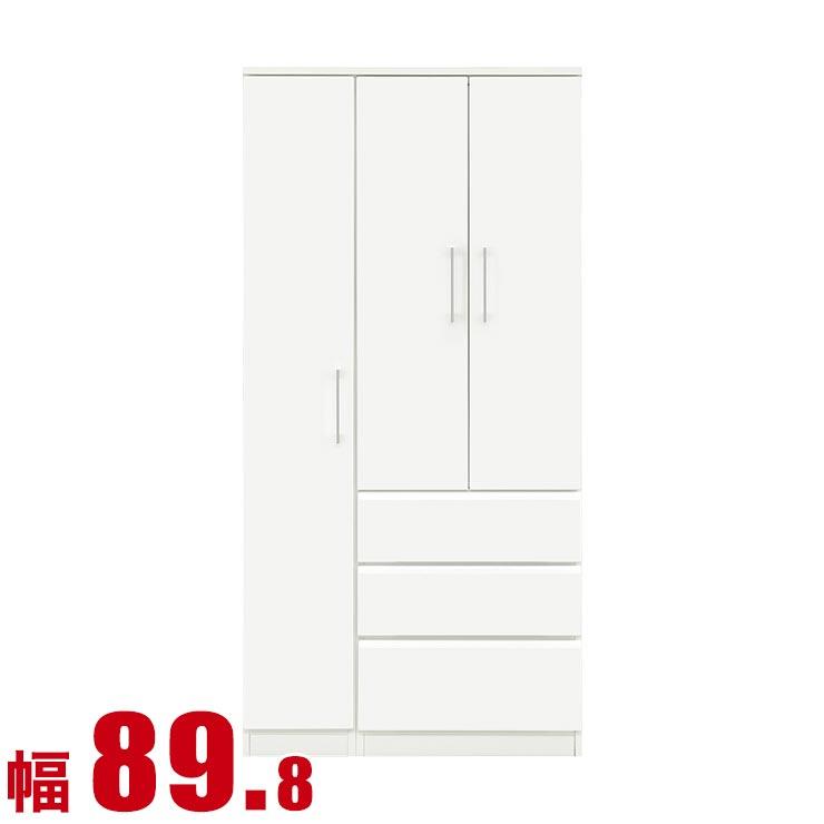 マルチタンス 幅89.8cm 鏡面ホワイト 日本製 スノウ 完成品 日本製 送料無料