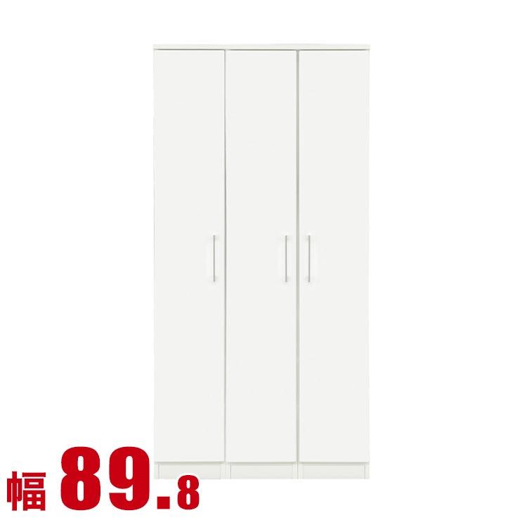 スノウ ワードローブ 幅89.8cm 鏡面ホワイト 日本製 完成品 日本製 送料無料