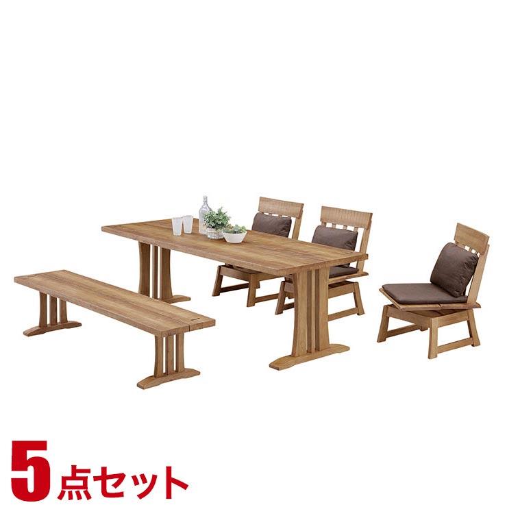【送料無料/設置無料】 輸入品 何年も使い込んだような表情の和風ダイニングテーブルセット 政宗 5人用 ナチュラル色 6人掛け 六人掛け ダイニングテーブルセット ダイニングセット 食卓セット
