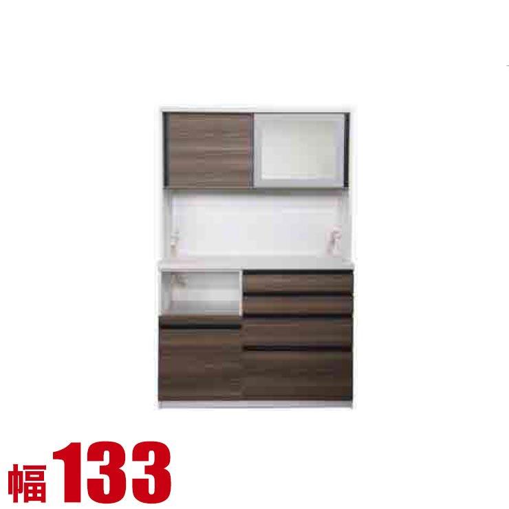 【完成品 日本製 送料無料】 高級 扉とガラスを選べる レンジ台 コローレ 幅133 奥行50 高さ206 ホワイト ブラック