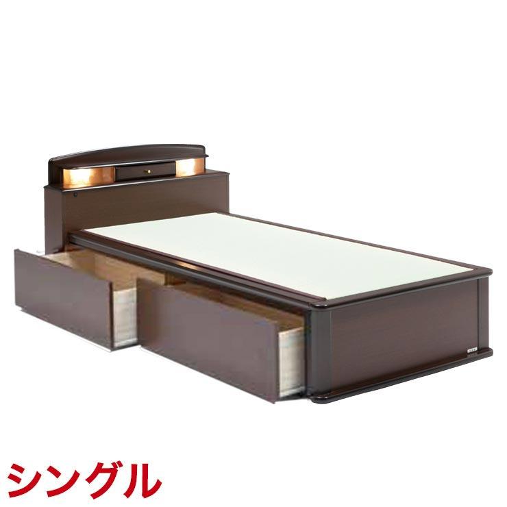 シングルベッド フレーム 収納付き 引出し付き 宮付き ベッドフレーム 森の恵みと職人の技が作り出した純国産畳ベッド ナンシー ロングタイプ 完成品 日本製 送料無料