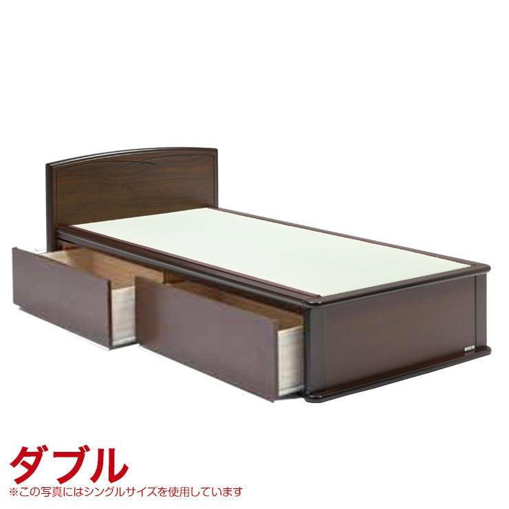 ダブルベッド フレーム 収納付き 引出し付き 宮無し ベッドフレーム 森の恵みと職人の技が作り出した純国産畳ベッド ナンシー ダブル 完成品 日本製 送料無料