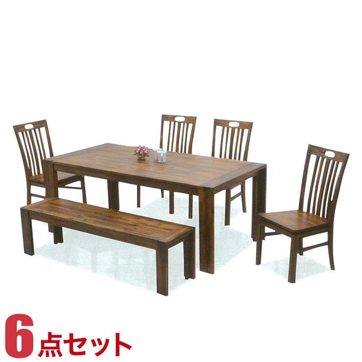 ダイニングテーブルセット 7人掛け アカシアウッド 高級感 カントリー風 テーブル 6点セット テーラー 幅180cmテーブル 椅子4脚 ベンチ1脚 完成品 輸入品 送料無料