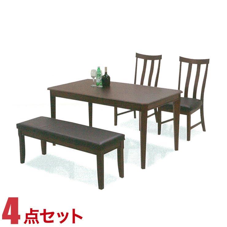 ダイニングテーブルセット 4人掛け テーブル 4点セット ブラウン ベティ 幅140cmテーブル 椅子2脚 幅115cm ベンチ1脚 ダイニングセット 完成品 輸入品 送料無料