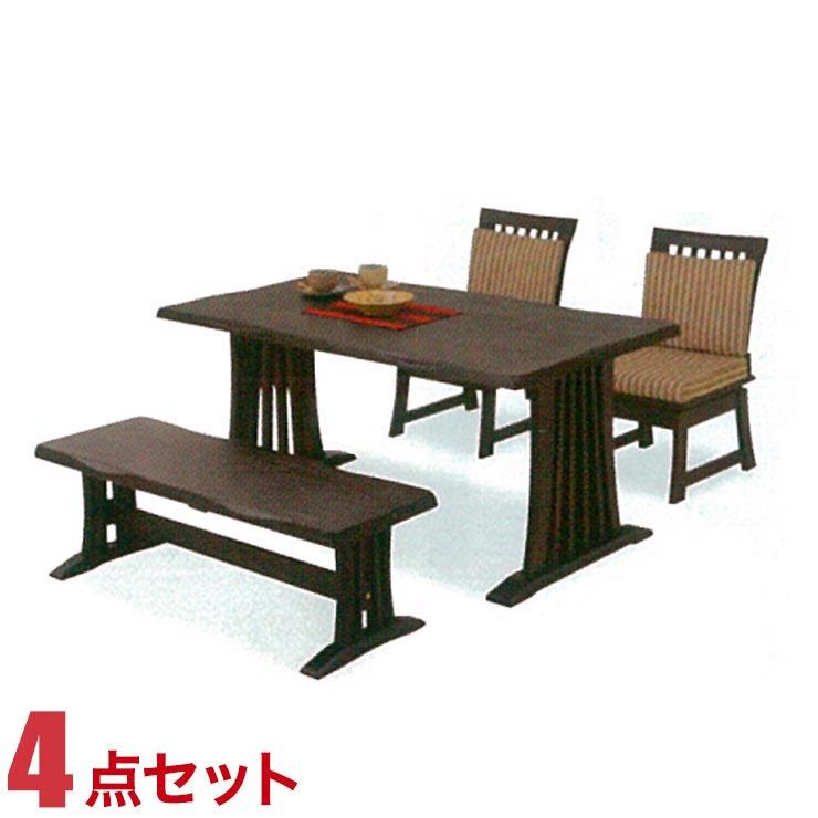 ダイニングテーブルセット 4人掛け テーブル 4点セット ブラウン 花鳥 幅140cmテーブル 回転椅子2脚 ベンチ1脚 セット 回転式椅子 完成品 輸入品 送料無料
