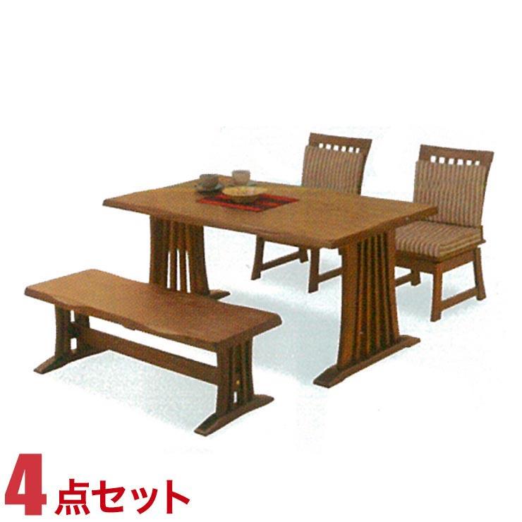ダイニングテーブルセット 4人掛け テーブル 4点セット ライトブラウン 花鳥 幅140cmテーブル 回転椅子2脚 ベンチ1脚 セット 回転式椅子 完成品 輸入品 送料無料