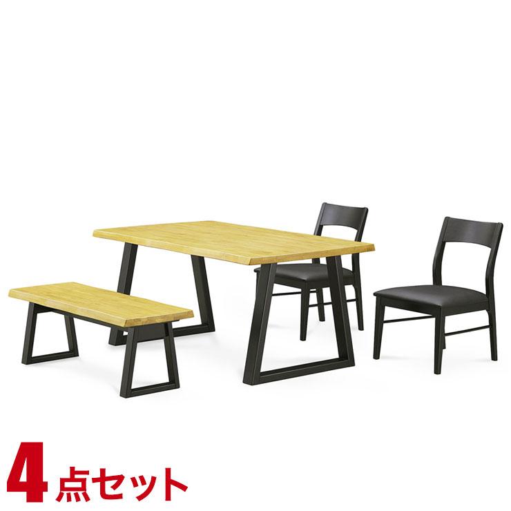 【完成品 送料無料】 完成品 輸入品 シンプルで場所を選ばないダイニングシリーズ ライズ ダイニング4点セット(135テーブル・チェア2脚・105ベンチ1脚) 椅子 食卓 テーブル ラバーウッド無垢 シンプル モダン 新生活