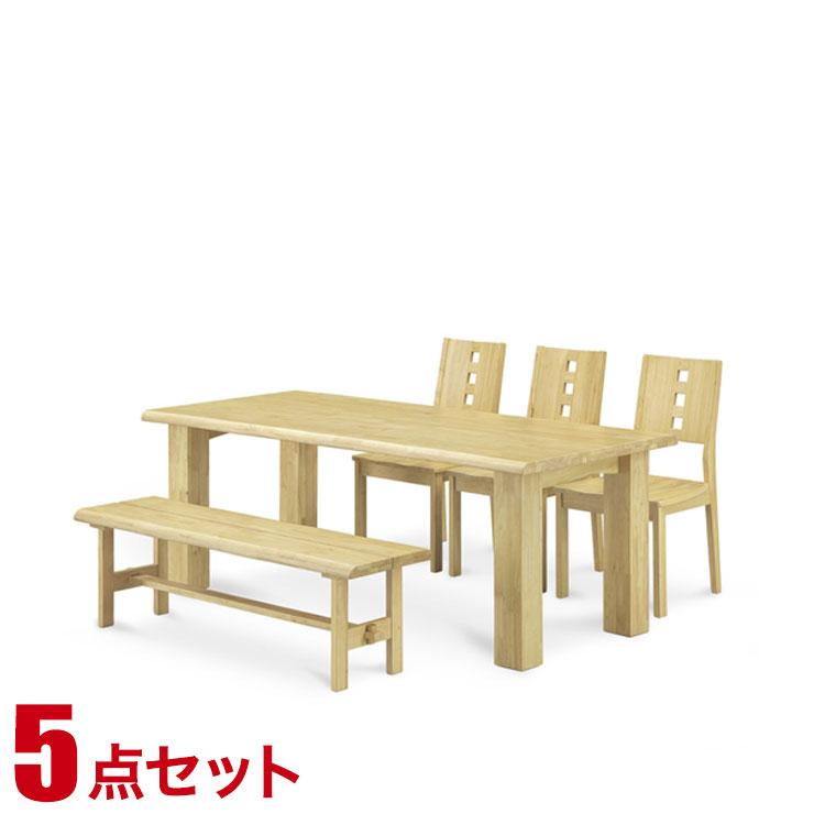 ダイニングセット ダイニングテーブル ラバーウッド 無垢材 ベルナ ダイニング5点セット(180テーブル・チェア3脚・143ベンチ1脚) 食卓 テーブル シンプル モダン 新生活 完成品 輸入品 送料無料