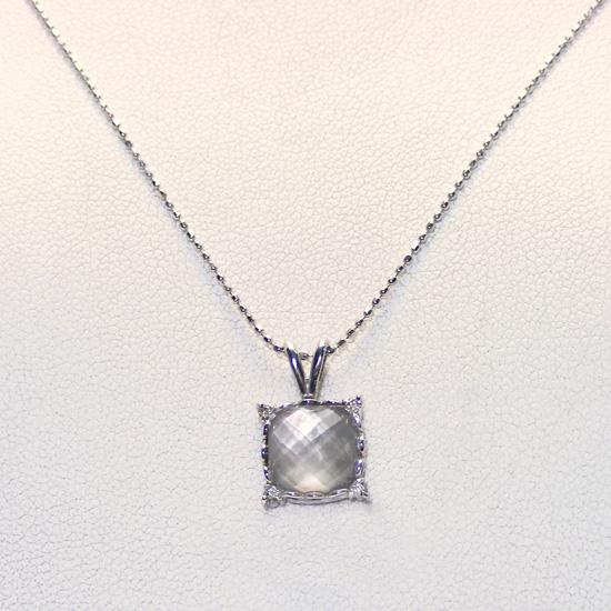K18WG 黒蝶貝 水晶 (ダイヤ付)ペンダントネックレス