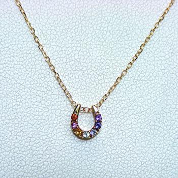 K18 マルチカラー ダイヤモンド リバーシブルタイプ ペンダントネックレス