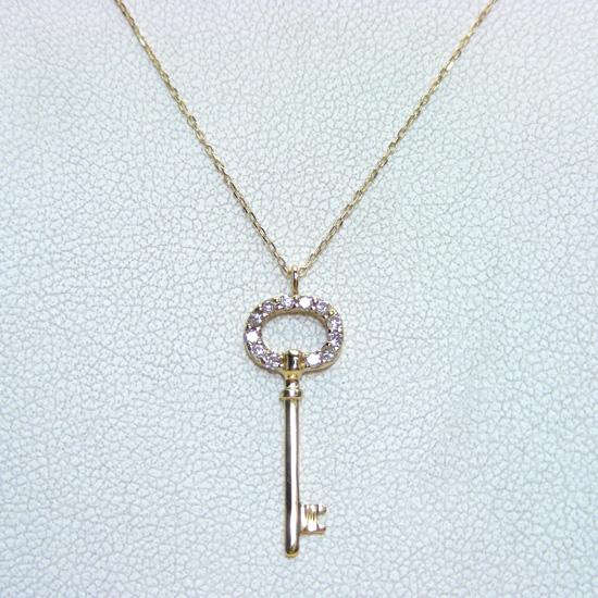 K18 ダイヤモンド Key(キー)型 ペンダントネックレス