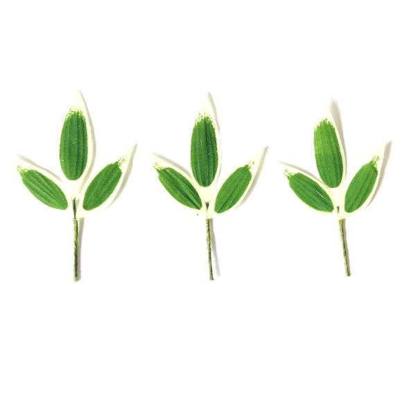 正月飾り 材料 100個入り 竹笹(S)3枚入り 手作り パーツ 部材 素材 雑貨 装飾 縁起 オリジナル 和風 楽しく 準備 迎春 しめ飾り しめ縄 玄関飾り