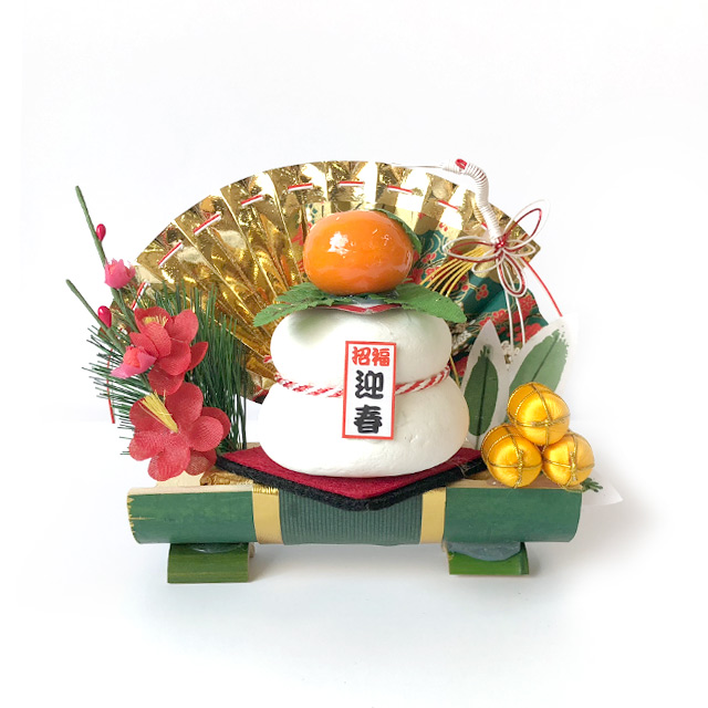正月飾り 割竹 鏡餅 宝船 アレンジ 自宅用 会社 オフィス マンション 受付 室内 鏡餅  しめ飾り 玄関飾り 室内飾り