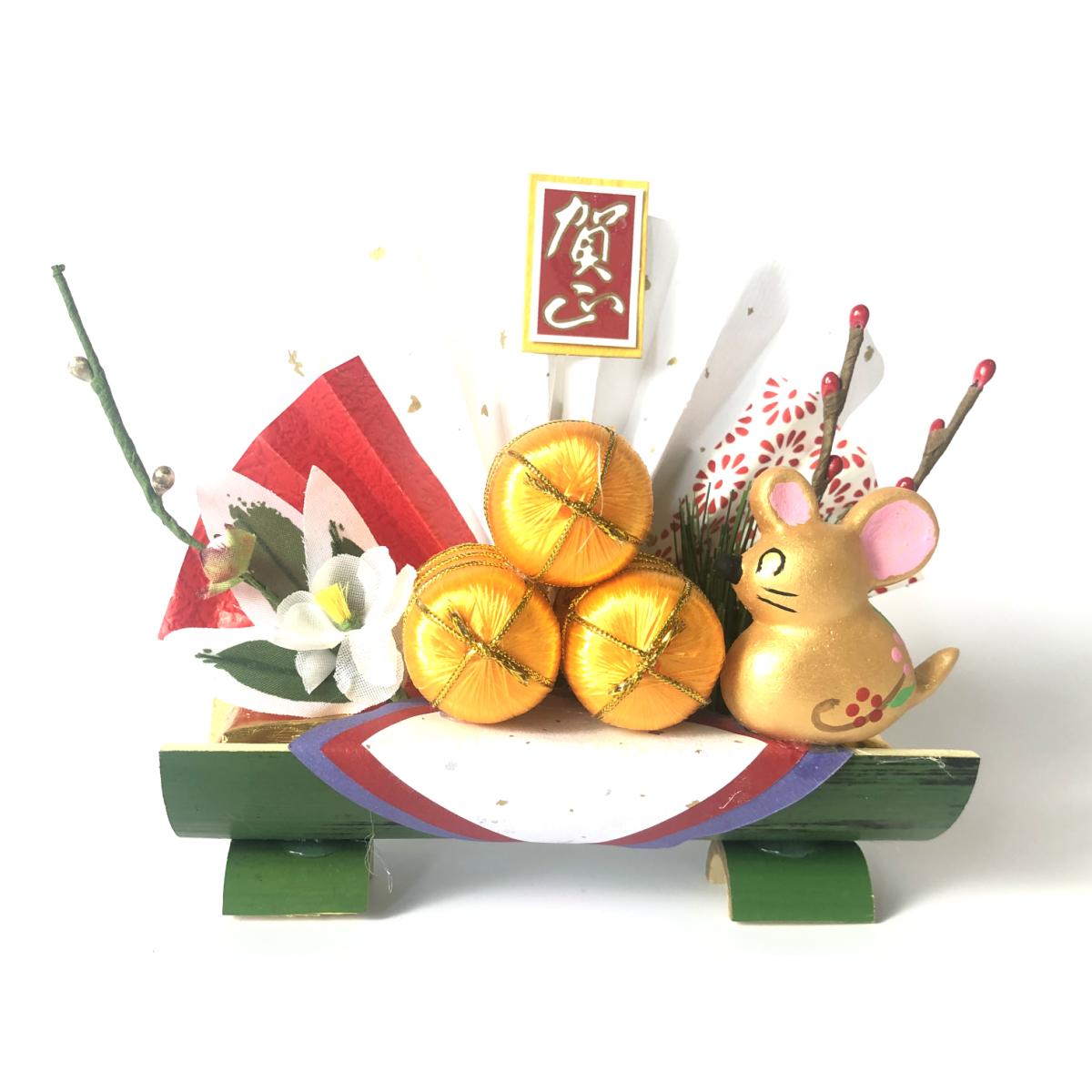 正月飾り 割竹 干支 扇 自宅用 会社 オフィス マンション 受付 室内 しめ飾り 玄関飾り 室内飾り