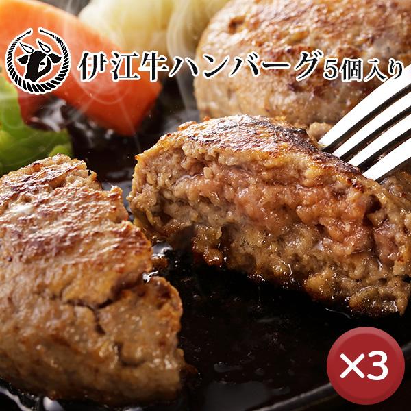 【送料無料】伊江牛ハンバーグ5個セット 3箱セット|国産和牛|県産和牛|贈り物[食べ物>お肉>ハンバーグ]