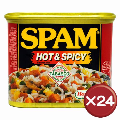 【送料無料】ホーメル スパム(SPAM) ホット&スパイシー 24缶セット|沖縄土産|保存食[食べ物>缶詰>ポークランチョンミート]