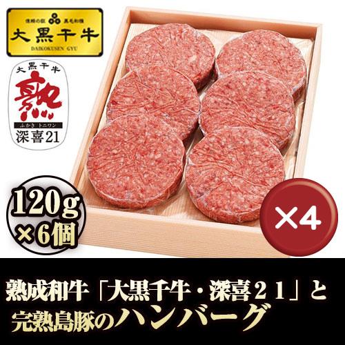 【送料無料】熟成和牛「大黒千牛」と完熟島豚のハンバーグ 120g×6個 4箱セット|国産和牛|和牛|お歳暮[食べ物>お肉>ハンバーグ]