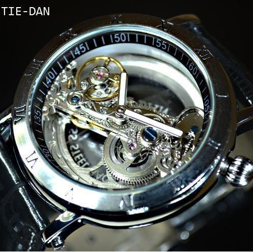 TIEDAN メンズ 腕時計 スケルトン 爆売り 革 バンド ゴールド 機械式上時計 自動巻 ブラック 激安通販 トゥールビヨン フルスケルトン