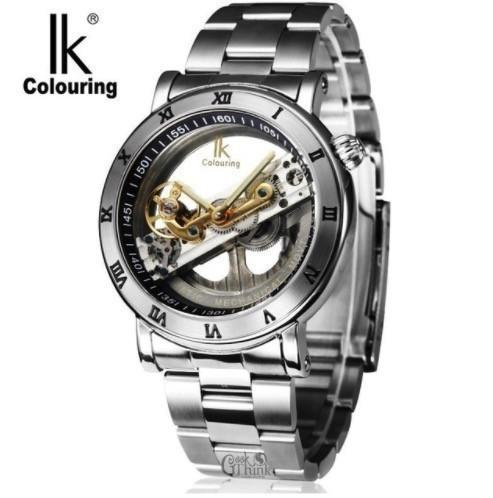 商い IK 全品最安値に挑戦 Colouring メンズ 機械式時計 スケルトン トゥールビヨン シルバー 自動巻 トゥールビヨンスタイル 機械式腕時計 高級ブランド