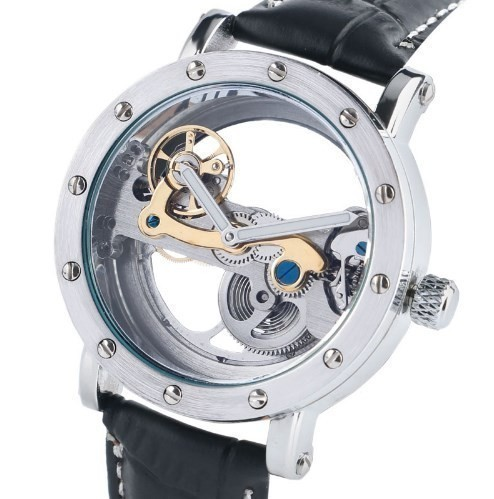 SHENHUA 絶品 メンズ 腕時計 スケルトン 流行 クラシック ブラック 高級感 機械式腕時計 革バンド スケルトン時計 自動巻 ブラックバンド