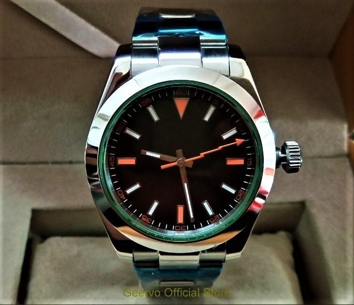 GEERVO 爆買い送料無料 メンズ 腕時計 オマージュウォッチ グリーンガラス 日本未発売 高級 ミルガウス 新作 LOGO NO style 全国一律送料無料