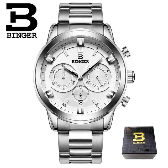BINGER メンズ 腕時計 送料無料 クロノグラフ サファイアクリスタル 大人のクロノグラフモデル 市販 ストップウォッチ ホワイト カレンダー サファイア クリスタル