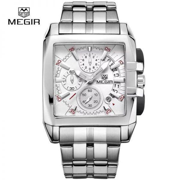 MEGIR メンズ 腕時計 プレゼント スクエア ストップウォッチ カレンダー 大決算セール クロノグラフ ホワイト