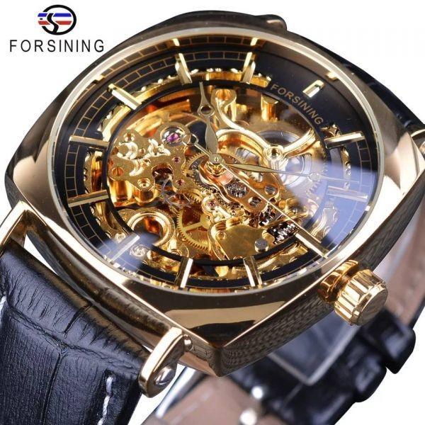 forsining メンズ 休み 腕時計 シースルーバック スケルトン 日本未発売 自動巻き ゴールド スクエア 機械式 お気に入 高級腕時計