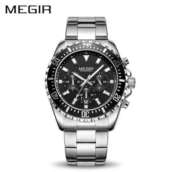 MEGIR メンズ 永遠の定番モデル 腕時計 通販 クロノグラフ デイトカレンダー 人気のクロノグラフモデル クォーツ ストップウォッチ シルバーブラック 日本未発売 46mm