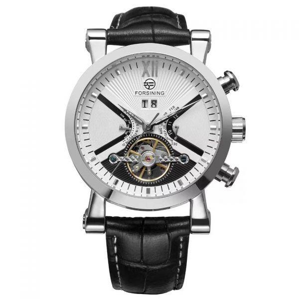 forsining メンズ 腕時計 限定版 トリプルカレンダー 43mm 自動巻き 機械式 海外ブランド 低価格 シルバーホワイト メイルオーダー
