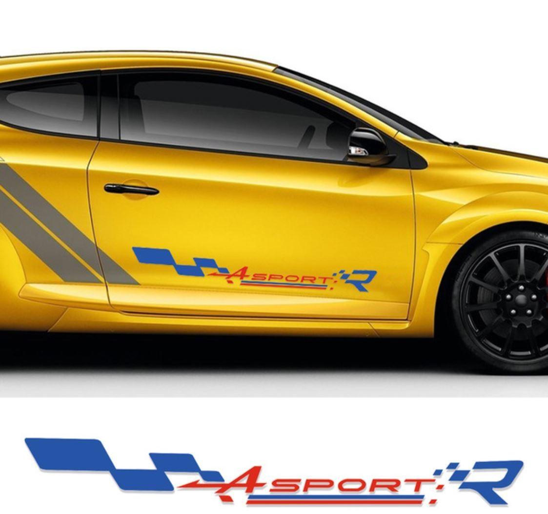 ルノー クリオ ステッカー レーシング スポーツ ドアサイド ストライプ デカール Clio R.S Twingo Megane