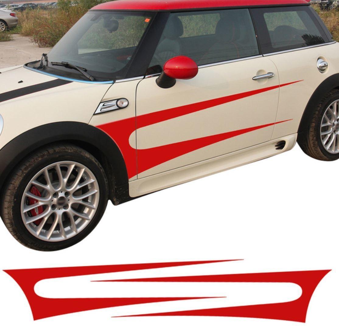 ミニクーパー 価格 卓越 交渉 送料無料 ステッカー サイド ストライプ ドア スカート F55 F56 R60 R50 R61 R56 R58 R53 R52 R57 R59