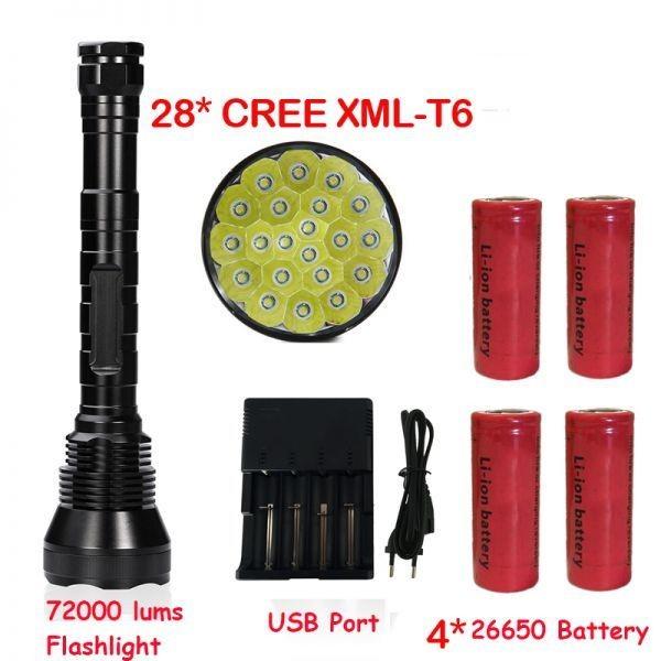 28X 授与 CREE 蔵 XM-L T6 LED 72000LM スーパーブライト 72000ルーメン 5モード 28 フラッシュライト 電池 トーチ ランプ 4 TORCHE 強力 26650 懐中電灯