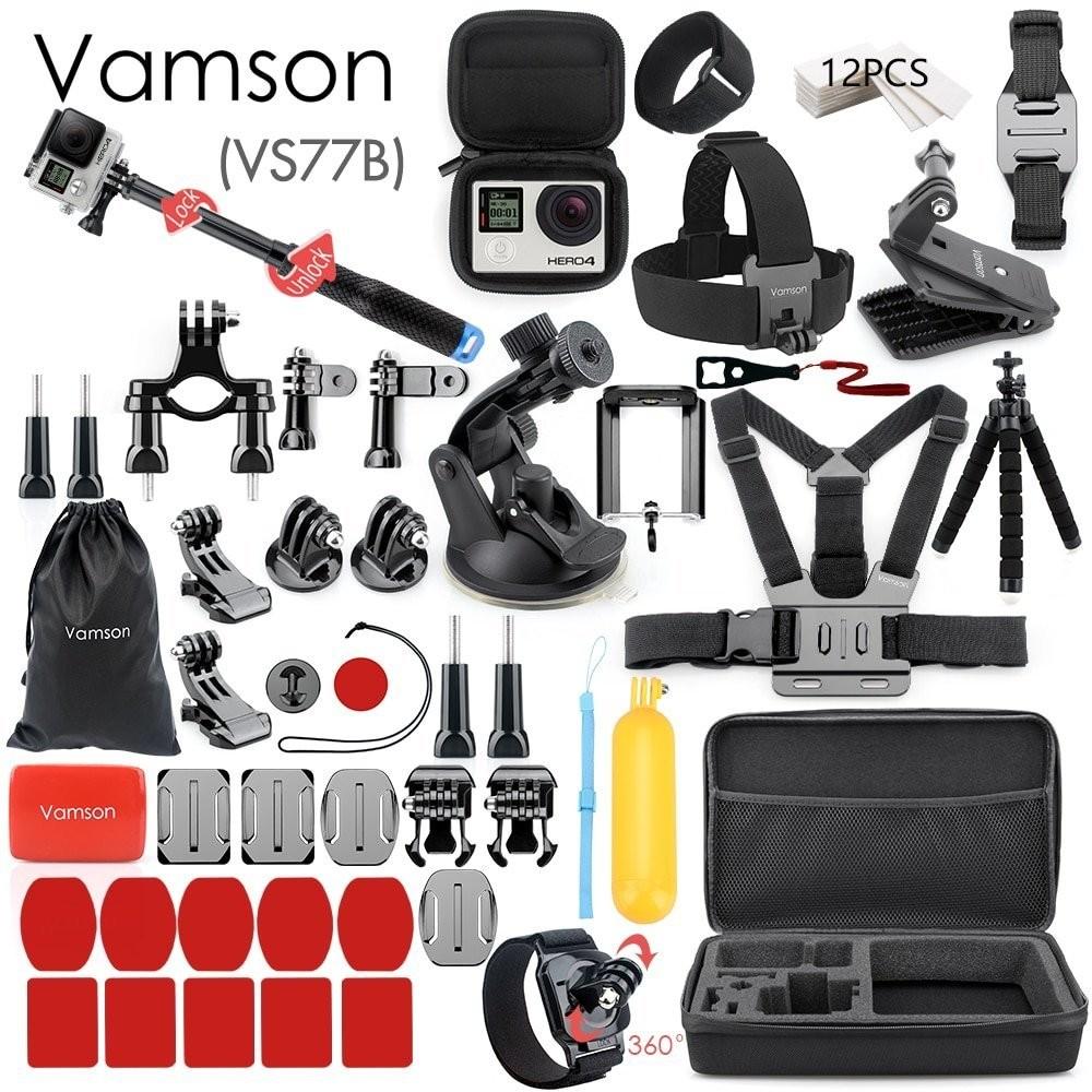 メーカー直売 Goproアクセサリー スティック 三脚 ケース Vamson for Gopro Accessories Set go pro hero 7 6 selfie case yi EVA xiaomi kit お求めやすく価格改定 VS77B Eken h8r stick 5 way 4 3