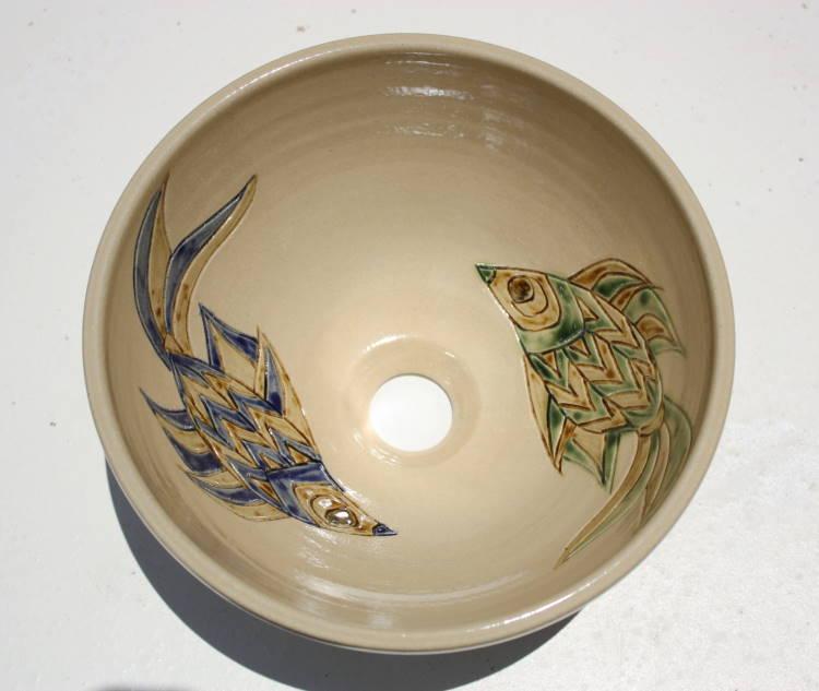 魚紋洗面鉢NO-52 ・器 うつわ 陶器作家