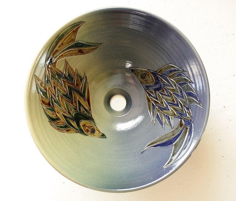 魚紋洗面鉢 ヤチムン製[洗面鉢][洗面ボール][洗面ボウル][手洗い鉢][手洗いボール]NO-18