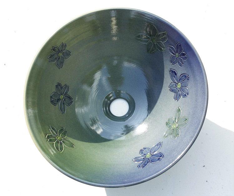 沖縄陶器やちむんの洗面鉢/洗面ボウル